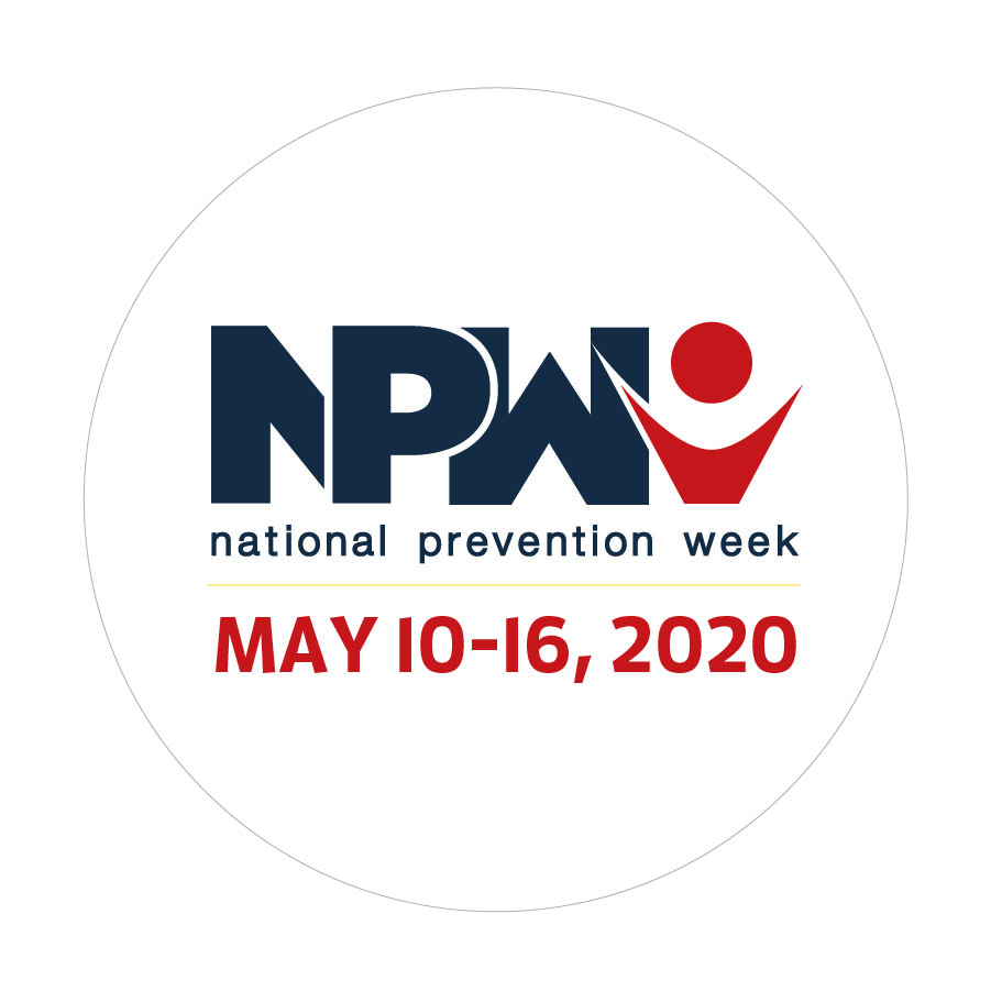 NPW 2020 Date Sticker: NPW - National Prevention Week; May 10–16, 2020